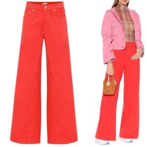GANNI Red High Waisted Wide Leg Flared Jeans 27
